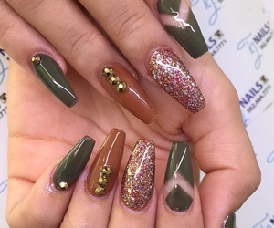 fall, gold, and nails image