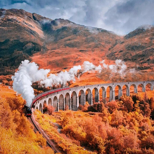 autumn, fall, and train image