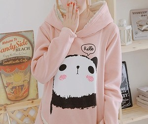 cute, pink, and panda image
