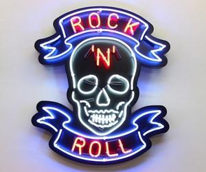 grunge, neon, and skull image