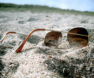 sunglasses, sand, and beach image