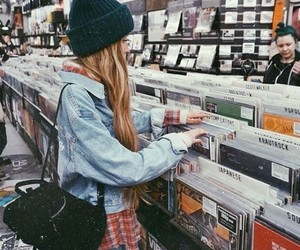 girl, music, and vinyl image