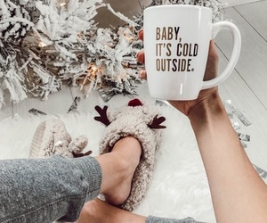 christmas, coffee, and slippers image