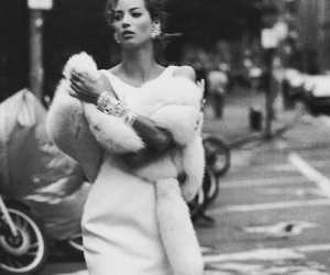 black and white, Christy Turlington, and dress image