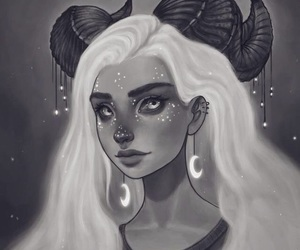 art, moon, and white hair image