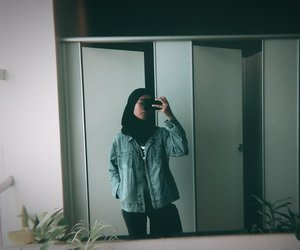 hijab, ootd, and mirrorselfie image