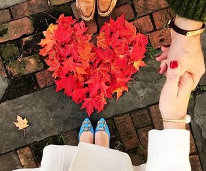 autumn, couple, and heart image