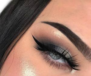blue eye, couple love, and girl girls makeup image