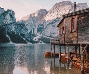 house, lake, and snow image