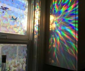 rainbow, holographic, and light image
