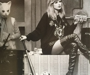 Taylor Swift, black and white, and Reputation image