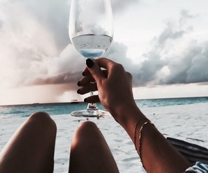 beach, summer, and drink image