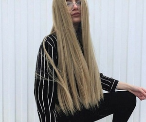 hair, glasses, and blonde image