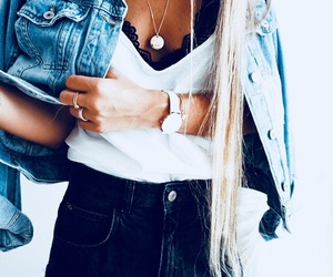 black, fashion, and jeans jacket image