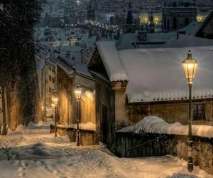 Houses, roofs, and snow image