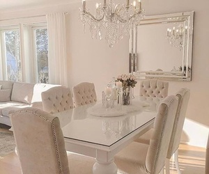 chandelier, dining room, and glassware image