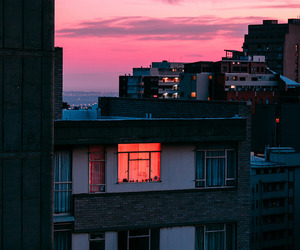 sky, city, and pink image