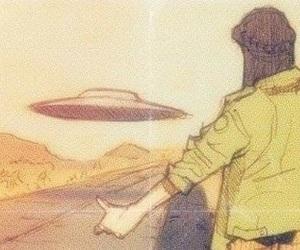 girl, ufo, and alien image