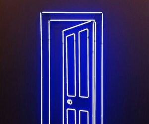 blue, neon, and door image