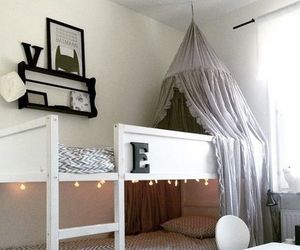 canopy bed, diy, and fairy lights image