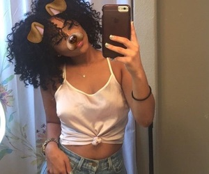 black girl, curly hair, and girl image