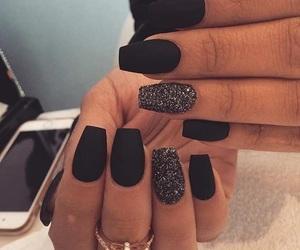black nails, creative, and long nails image