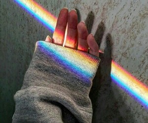 rainbow, girl, and hand image