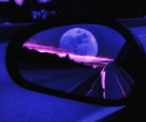 moon, car, and blue image