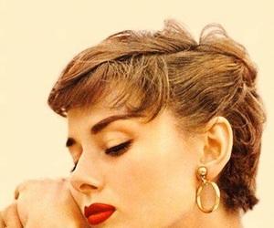 audrey hepburn, red lips, and vintage image