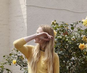 girl, yellow, and flowers image