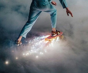 light, skate, and skateboard image