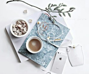 coffee, iphone, and white image