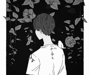 anime, monochrome, and boy image