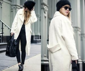 fashion, white coat, and winter coat image