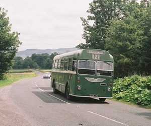 bus, road, and vintage image