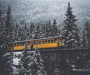 snow, winter, and train image