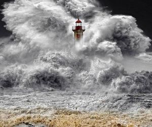 lighthouse, sea, and waves image