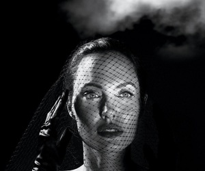 actress, Angelina Jolie, and black and white image