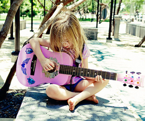 guitar, girl, and blonde image