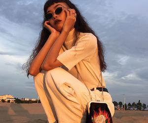 girl, aesthetic, and bag image