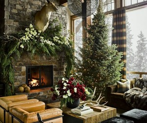 christmas, design, and fireplace image