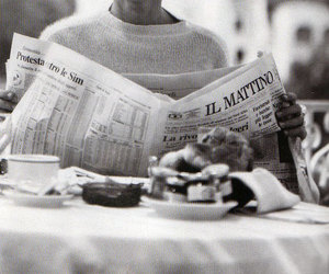 black and white, newspaper, and breakfast image
