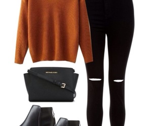 black boots, orange sweater, and converse image