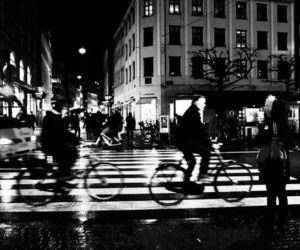 bike, night, and paris image