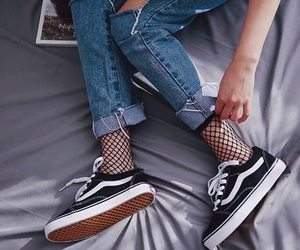 vans, jeans, and style image