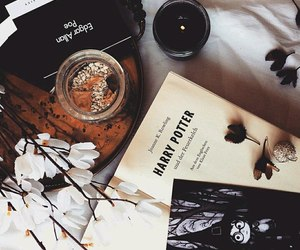 flowers, book, and candle image