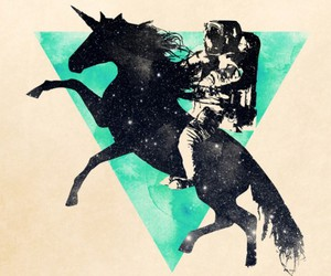 unicorn, astronaut, and triangle image