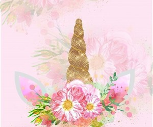 flowers, unicorn, and pink image
