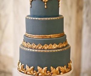cake, gold, and wedding cake image