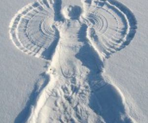 snow, snow angel, and winter image